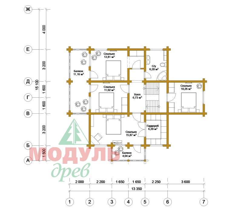 Деревянный дом из бруса «Суздаль» - планировка 2