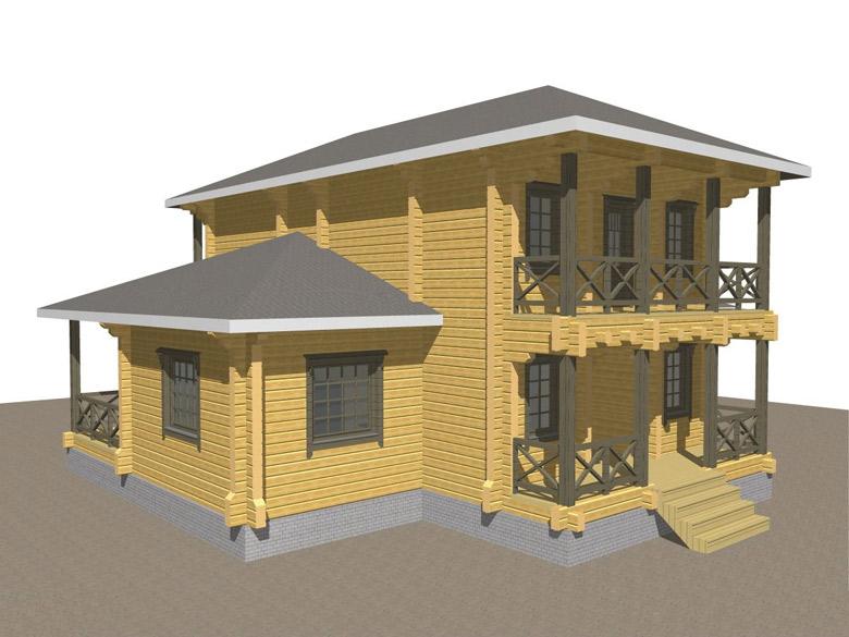 Двухэтажный дома из бруса «Тамань» - макет 1