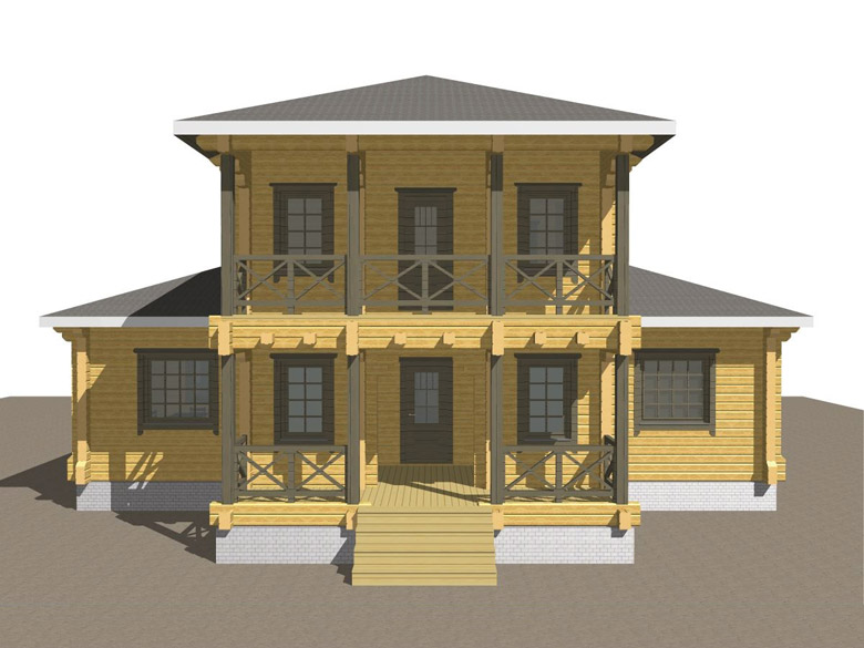 Двухэтажный дома из бруса «Тамань» - макет 2