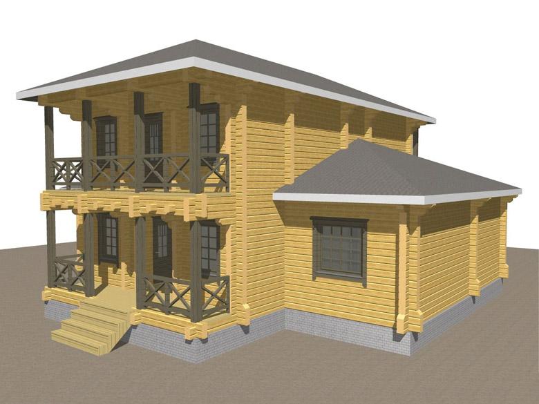 Двухэтажный дома из бруса «Тамань» - макет 3