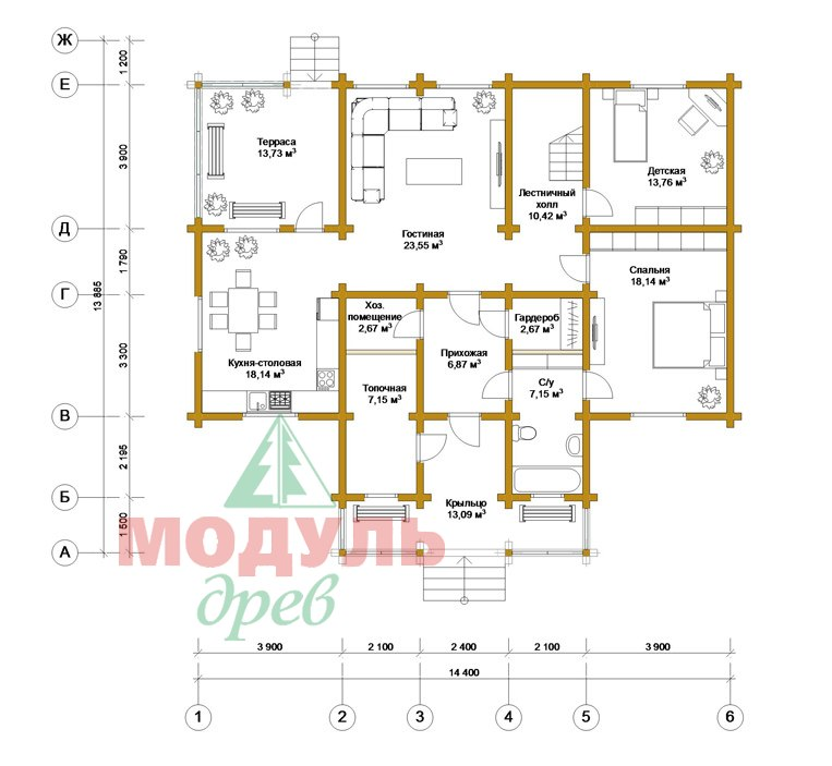 Двухэтажный дома из бруса «Тамань» - планировка 1