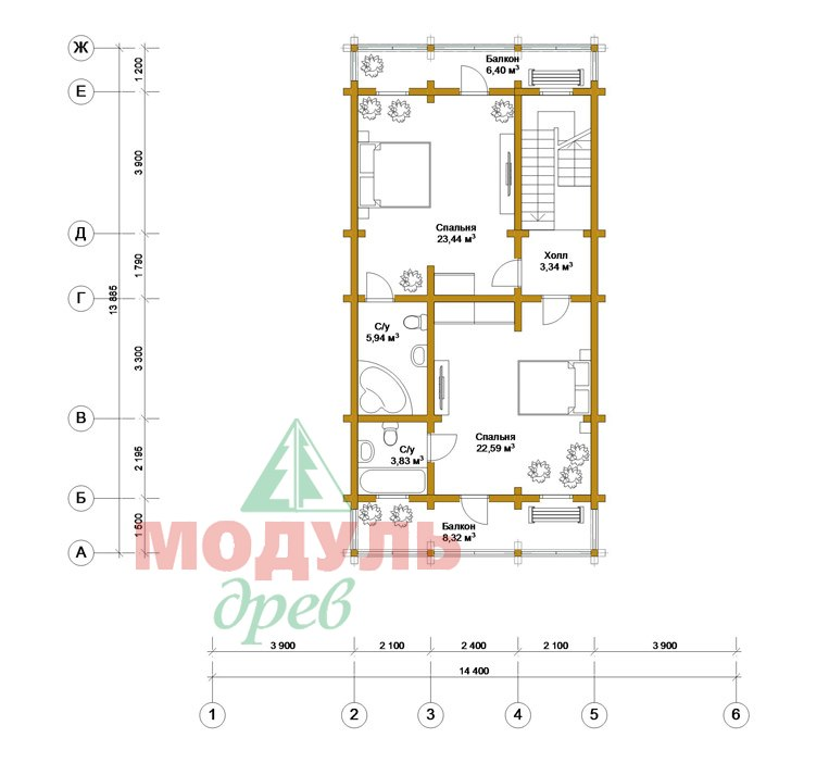 Двухэтажный дома из бруса «Тамань» - планировка 2