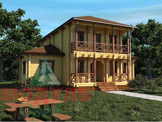 Проект двухэтажного дома из бруса «Тамань»