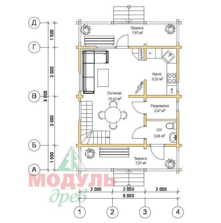 Планировка 1 дома из бруса «Тосно»