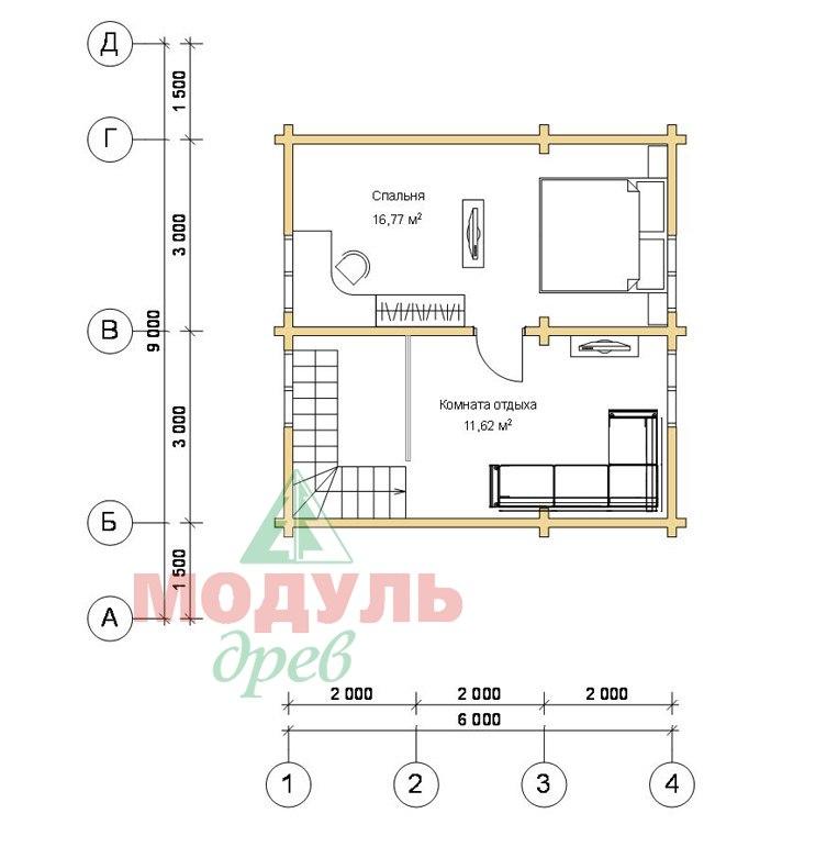 Планировка 2 дома из бруса «Тосно»