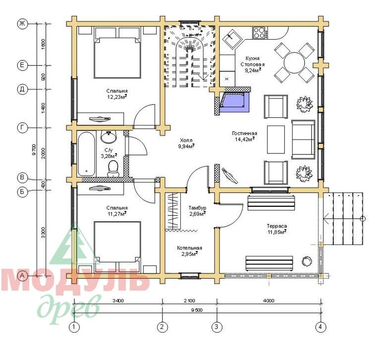 Дом из бруса «Тула» - Планировка 1