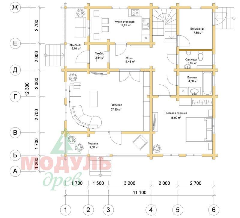 Дом из бруса «Усадьба» - планировка 1