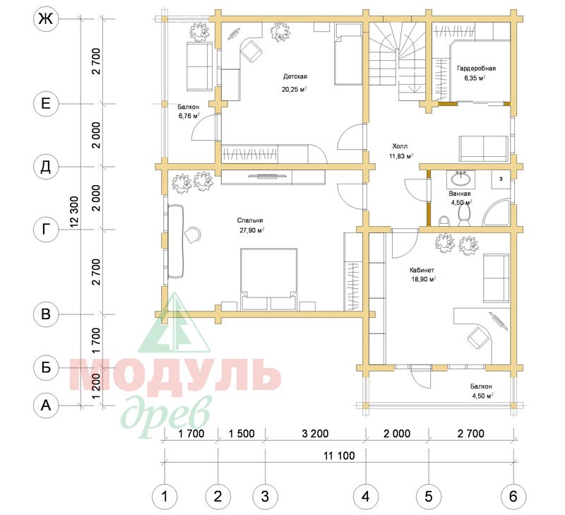 Дом из бруса «Усадьба» - планировка 2