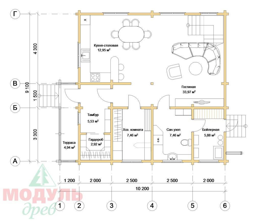Проект дома «Виктория» -планировка 1