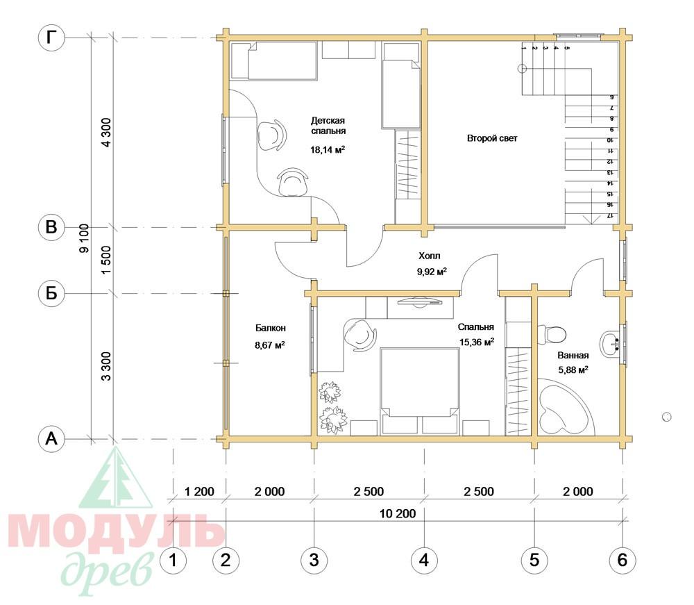Проект дома из бруса «Виктория» - планировка 2
