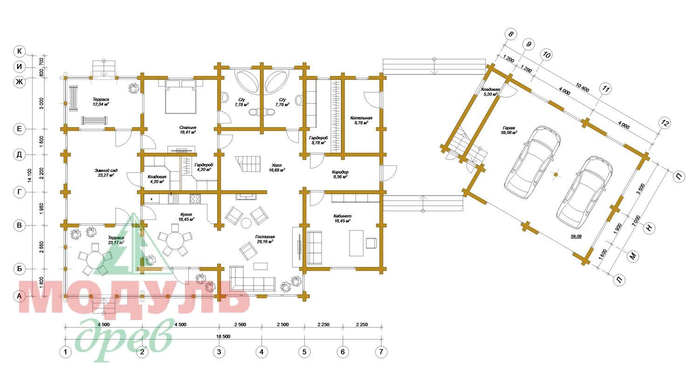 Проект дома из бруса «Волгоград» - планировка