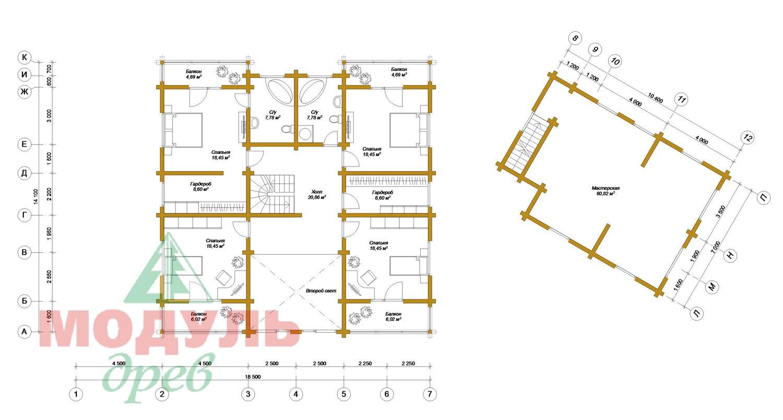 Проект дома из бруса «Волгоград» - планировка 2