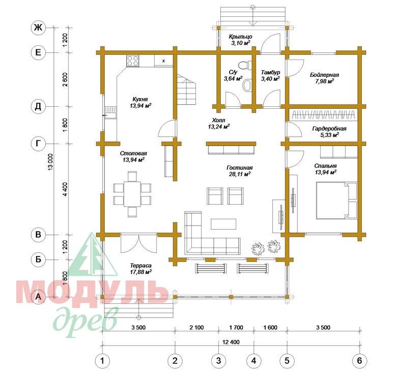 Дом из бруса «Вологда» - планировка 1