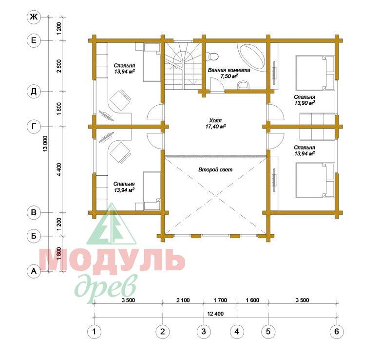 Проект дома из бруса «Вологда» - планировка 2