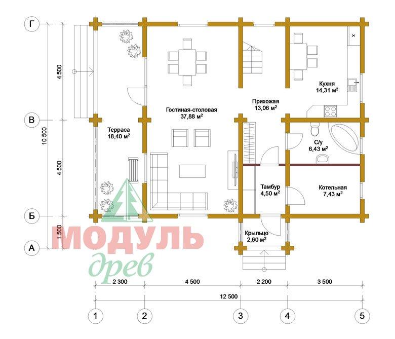 Дом из бруса «Вятка» - планировка 1