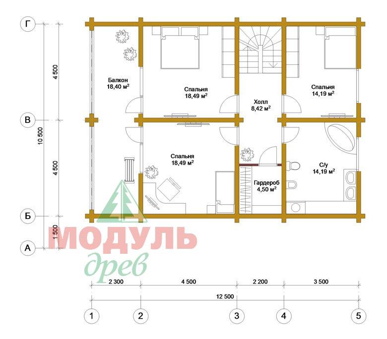 Дом из бруса «Вятка» - планировка 2