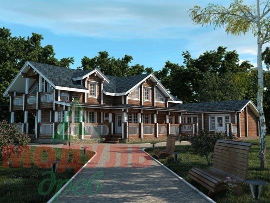 Проект просторного загородного дома из бруса «Янтарный»