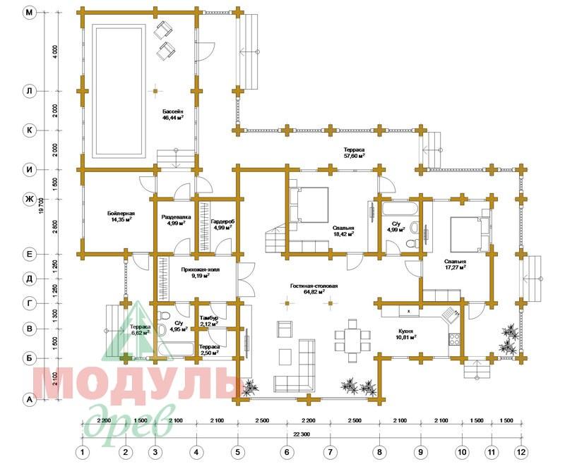 Проект дома из бруса «Янтарный» - планировка