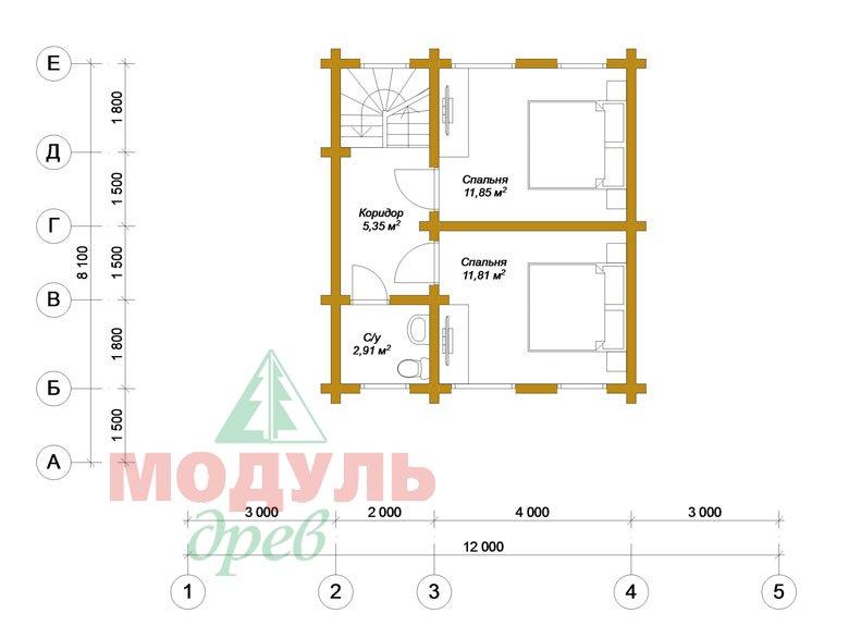 Дом из бруса «Ярославль» - Планировка 2