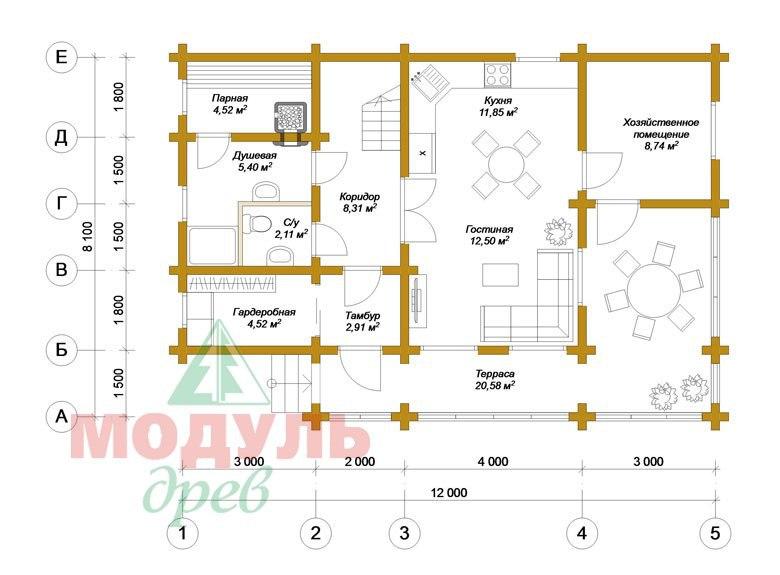 Проект дома из бруса «Ярославль» - Планировка 1