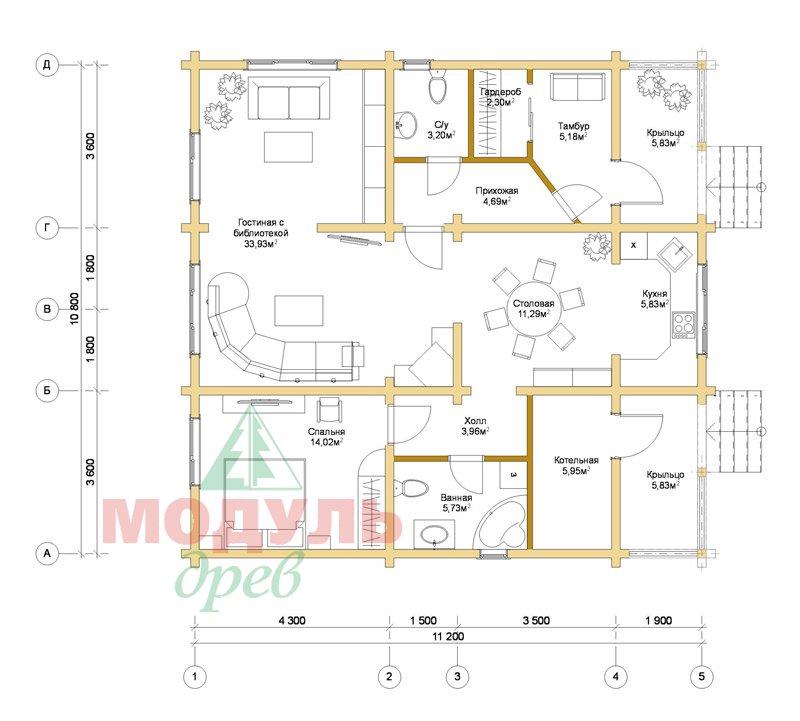 Планировка дома из бруса «Заречный»