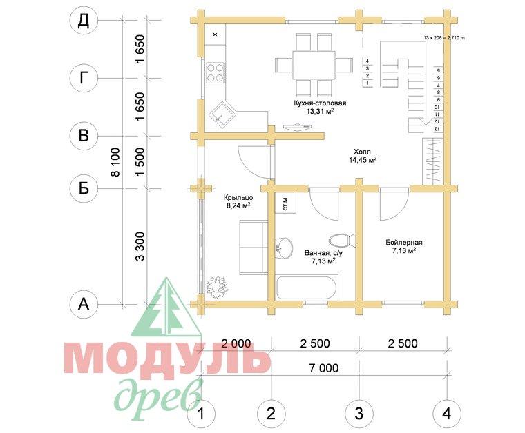 Планировка 1 проекта дома из бруса «Жуков»