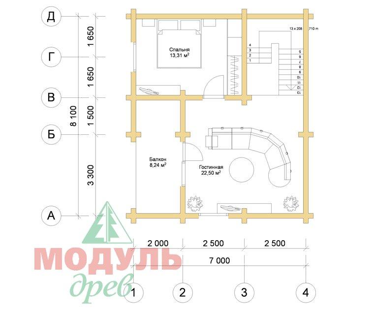 Планировка 2 проекта дома из бруса «Жуков»
