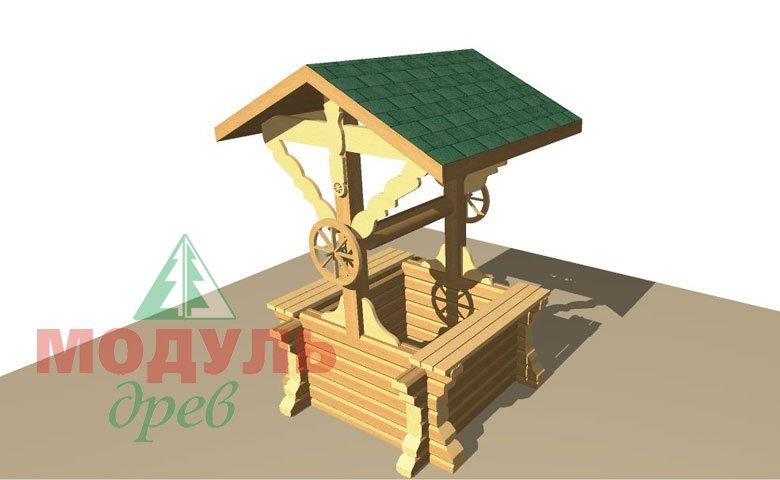 Проект деревянного колодца из бруса - макет 2