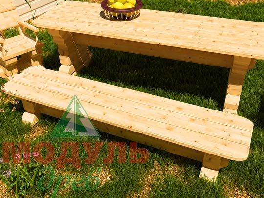 Деревянная садовая лавка 2400х540 из бруса