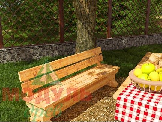 Деревянная садовая скамья 2090х570 из бруса