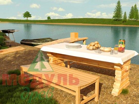 Деревянный садовый стол 2400х830 из бруса